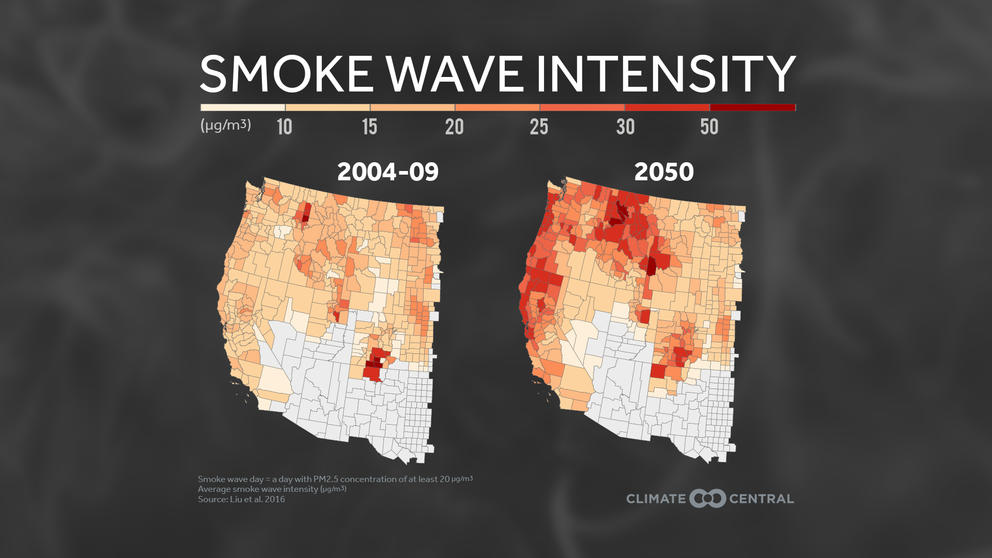 Map of western United States illustrating increasing wildfire smoke intensity from 2004-2009to 2050