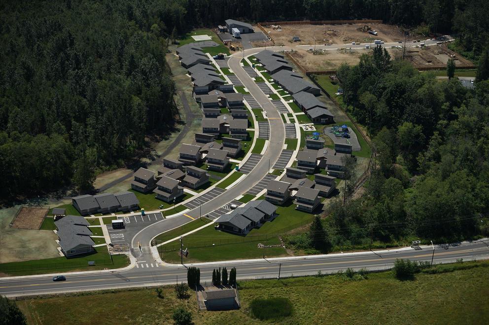 Houses along a winding road.