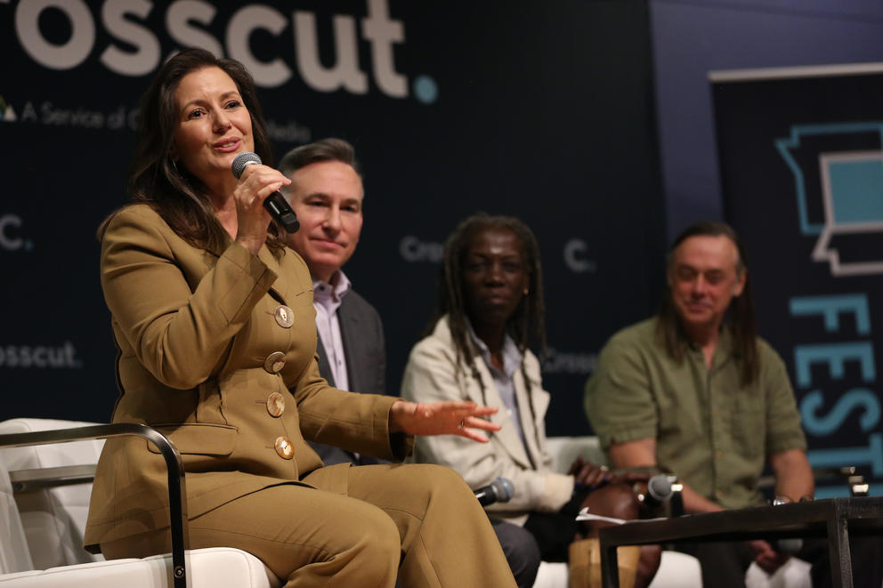 Oakland Mayor Libby Schaaf speaks alongside other panelists at the Crosscut Festival.