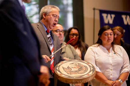 Tom Wooten, chairman of the Samish Indian Nation, sings a traditional prayer song.