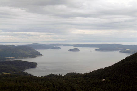 Aerial view of a grey day in the San Juan Islands