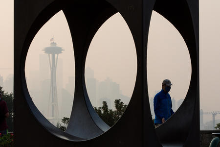A smokey view of Space the Needle
