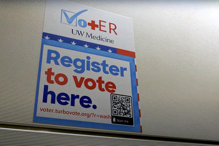 Harborview Medical Center has set up a voter registration kiosk in its emergency department to allow patients an avenue to acquire a ballot, without leaving the hospital. (UW Medicine)