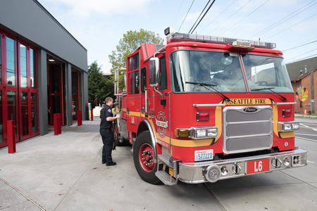 A fire truck outside Station 31