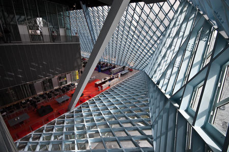Architecture inside of the down Seattle Public Library
