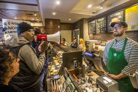 Protesters at a Starbucks in Philadelphia