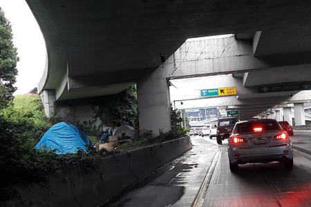 Tents by the side of I-5 in Seattle
