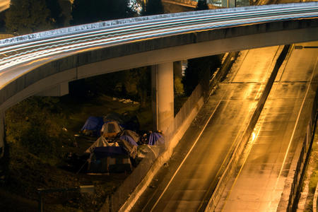A homeless encampment under a Seattle overpass on Jan. 19, 2018 (Photo by Matt M. McKnight/Crosscut)