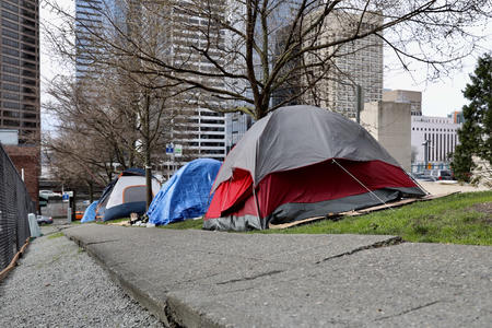 homeless encampment on First Hill in Seattle