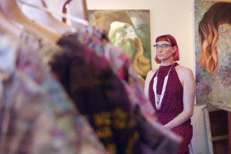 Jono Vaughan in her studio with garments created for Project 42.
