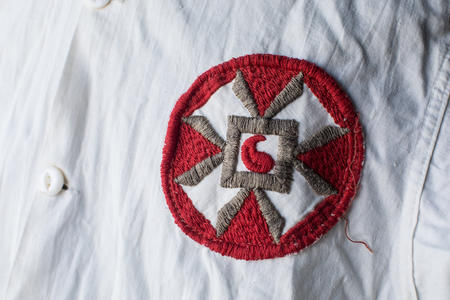 Close up of insignia on a KKK robe