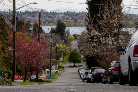 Parked cars crowd one side of 68th Avenue at the intersection with Dayton Street, looking east towards Green Lake and the Cascades, in Seattle's Phinney Ridge neighborhood.