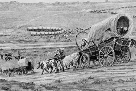 An illustration of the Oregon Trail journey