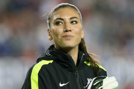 USA Goalkeeper Hope Solo before the SheBelieves Cup between the USA vs England at Raymond James Stadium in Tampa, Florida, March 3, 2016. (Cliff Welch/Icon Sportswire via AP Images)