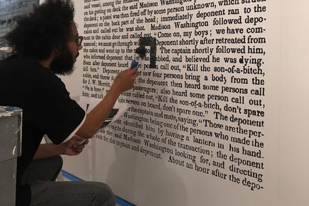 Seattle poet Quenton Baker installs his new show at Frye Art Museum