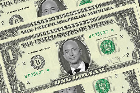 Jeff Bezos on a dollar bill