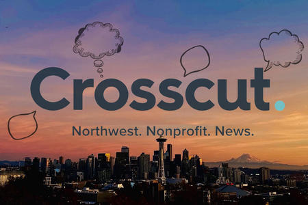 Crosscut logo with thought and speech bubbles over a Seattle sunset