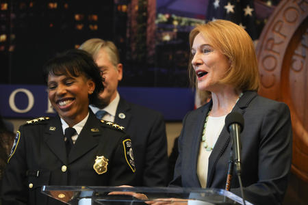 Mayor Jenny Durkan and Carmen Best