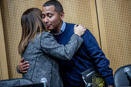 Abel Pacheco is sworn in to Seattle City Council on April 22, 2019.