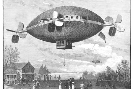 black and white illustration of a dirigible