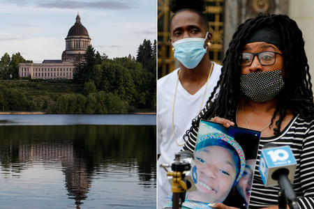 a composite image of the olympia state house next to an image of the family of mah'kia bryant