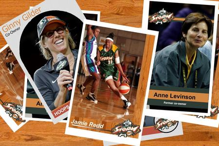 A collection of basketball cards featuring Jamie Redd, Ginny Gilder and Anne Levinson