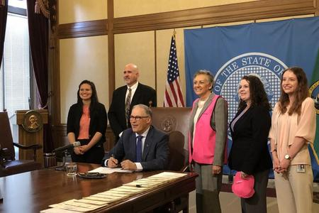 From left to right: Chalee Batungbacal (WDFW), David Whipple, (Hunter education division manager, WDFW), Gov. Jay Inslee, Sen. Lynda Wilson, Amber Hardtke (Legislative assistant to Sen. Lynda Wilson), Inna VanMatre (Intern, Sen. Lynda Wilson's office). (Photo courtesy of Washington Department of Fish and Wildlife)
