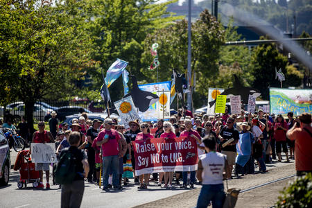 Puyallup tribal members, supporters marching