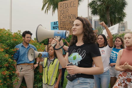 Jamie Margolin at a protest