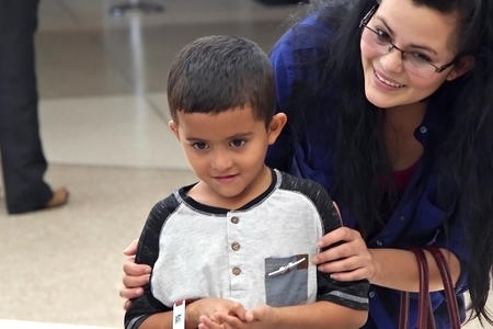 Six-year-old Jelsin is reunited with his mother Yolany Padilla