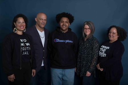 Among the five Crosscut Courage Awards winners is Creative Justice, an organization recognized in the Courage in Culture category. From left to right: Nikkita Oliver, Aaron Counts, Kardea Buss, Jordan Howland, and Heidi Jackson of Creative Justice.