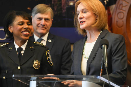 Chief of Police Carmen Best and Mayor Durkan, with City Attorney Pete Holmes