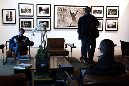 Lance Mercer's grunge photography graces the lobby at 9th & Mercer