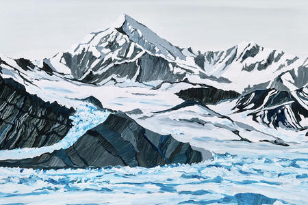 oil painting of a snow capped mountain and glacier