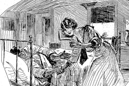 Sketch of female nurse tending to ill man