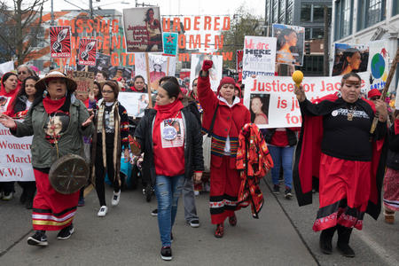 A contingent of women representing the group, Murdered and Missing Indigenous Women, leads the Seattle Women's March 2.0 in Seattle, Jan. 20, 2018.