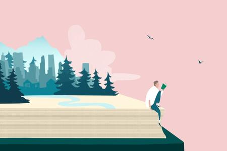 Illustration of a couple sitting on the edge of a book with mountains and trees behind them