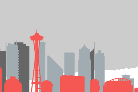 seattle skyline red silhouette