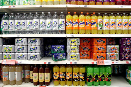 Soda on a supermarket shelf