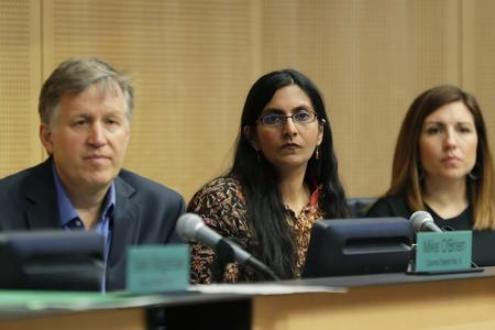 City councilmembers Mike O'Brien, Kshama Sawant and Teresa Mosqueda listen to comments on a proposed tax during a committee meeting at City Hall on May 9.