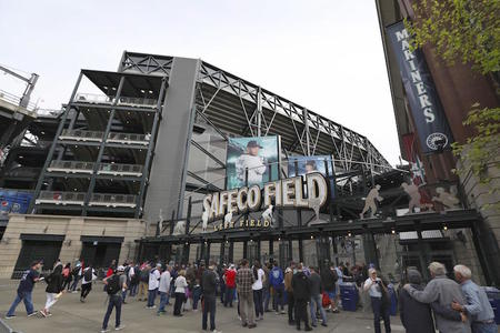 Safeco Field, the home stadium of the Seattle Mariners baseball club, in Seattle on May 5, 2018. (Kyodo via AP Images)