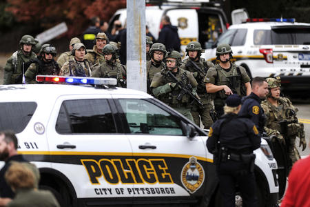 Pittsburgh police car and heavily armed officers