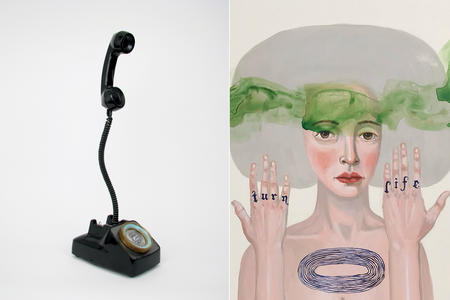 "Two artworks, left: telephone assemblage with an old rotary phone with cable and receiver suspended in the air. Right: painting of a white woman with circled tattoo on her chest and text ""turn"" ""life"" on her knuckles. Around her head is a green cloud of smoke."