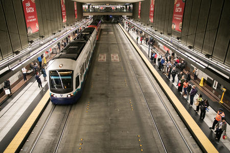 A light rail train in the downtown transit tunnel