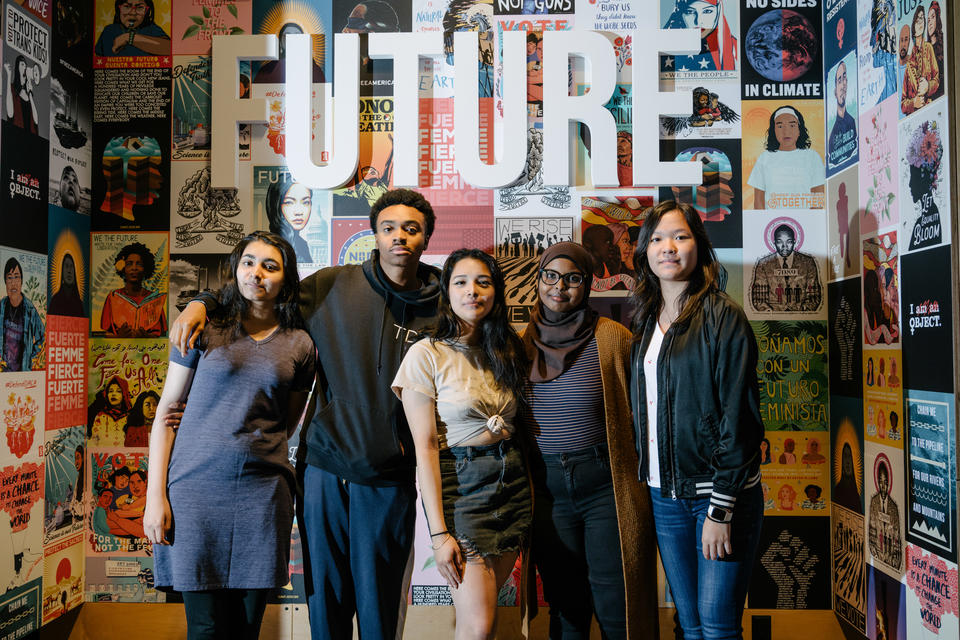 Youth ambassadors in front of the word future