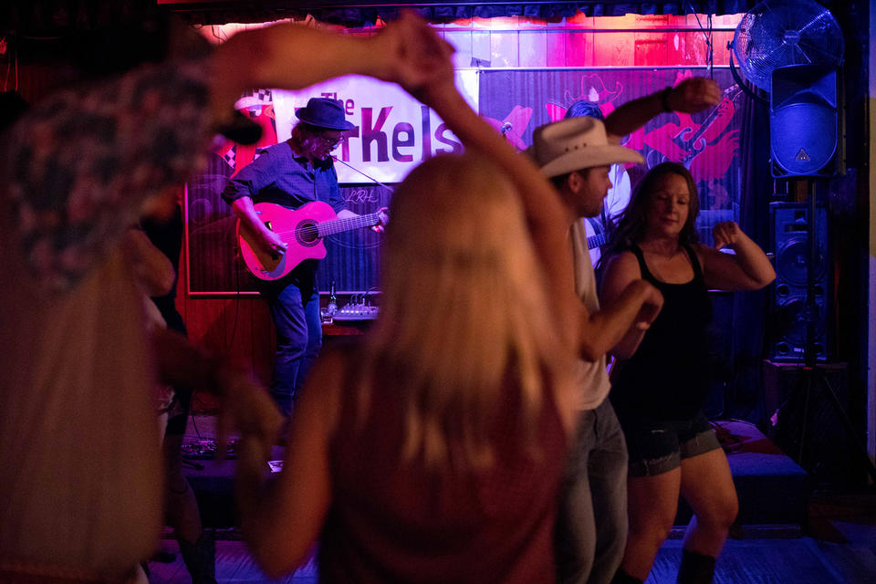 Local duo The Jerkels plays music for dancers during a recent Tuesday at Little Red Hen.