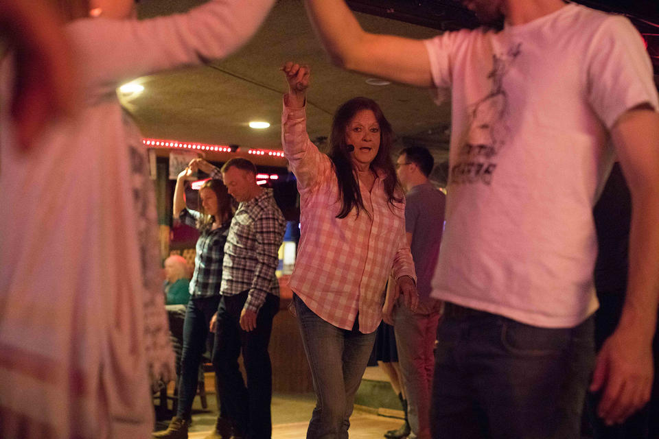Dance instructor Mary Ann Anderson teaches on a recent night at Little Red Hen.