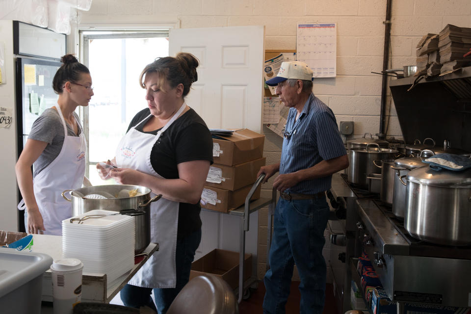 The restaurant's staff is forced to work in close quarters because the kitchen is tiny. Even after years of success, Los Hernández Tamales has remained in the same modest space.