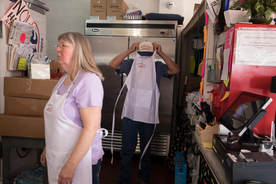 Felipe Hernández and wife June inside the small kitchen of Los Hernández Tamales in Union Gap, Washington.