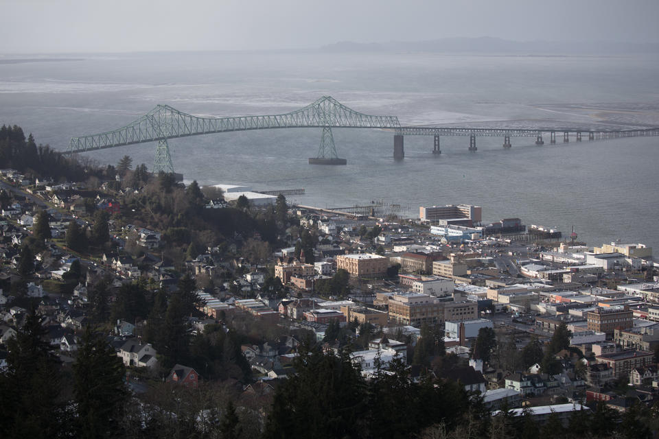 A view of Astoria and Astoria–Megler Bridge from the Astoria Column, the highest point along the northern Oregon coast in Astoria.